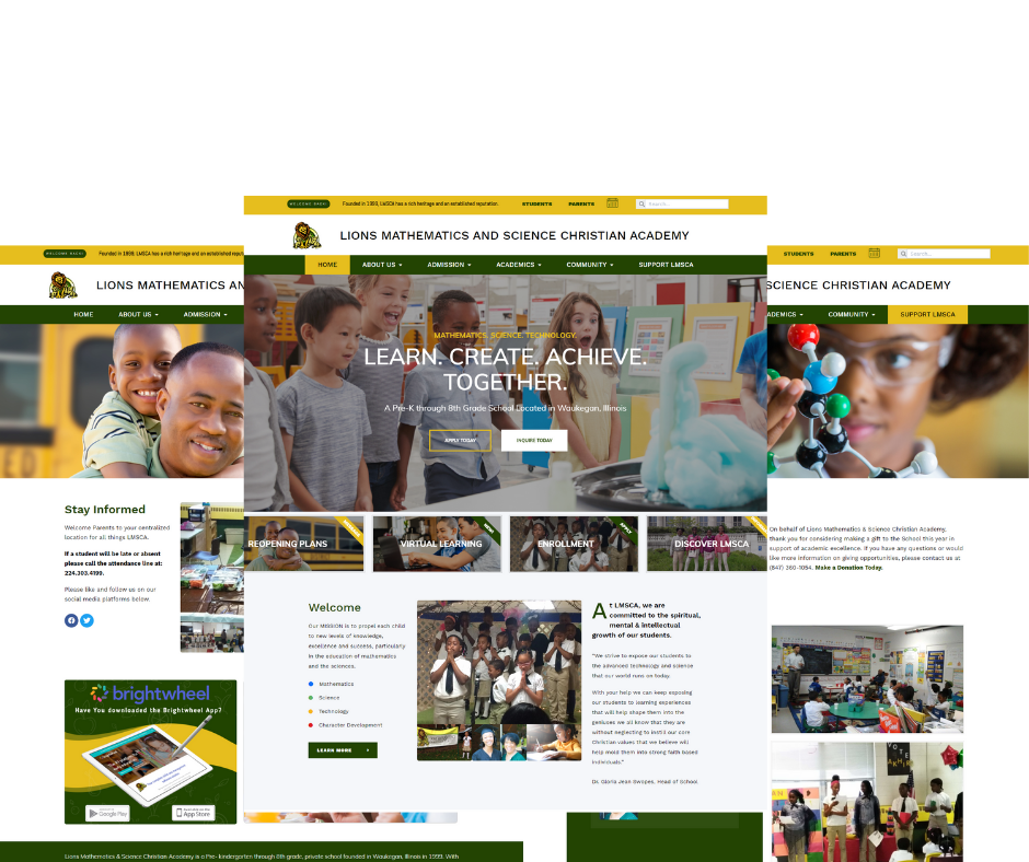 Lions-Math-And-Science-Christian-Academy-school-website-screen-mockup