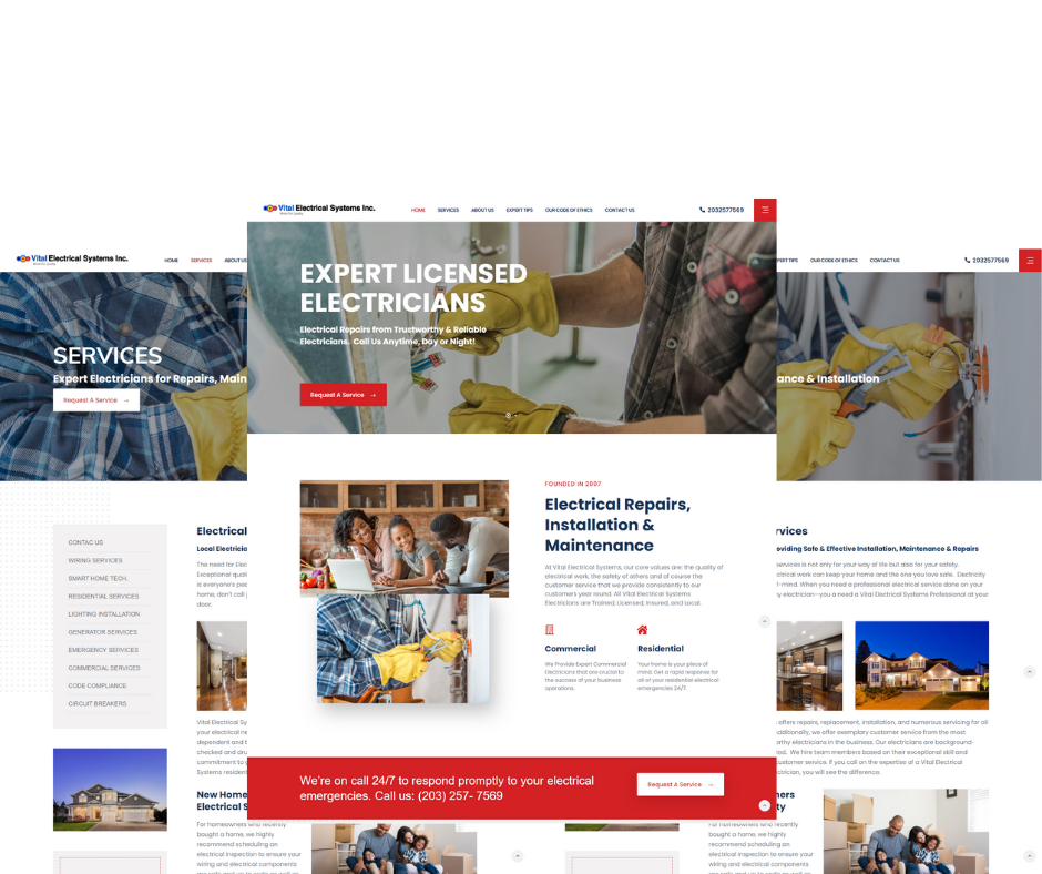 Vital-Electrical-Systems-Website-Mockup-designed-three-dementional-page-views