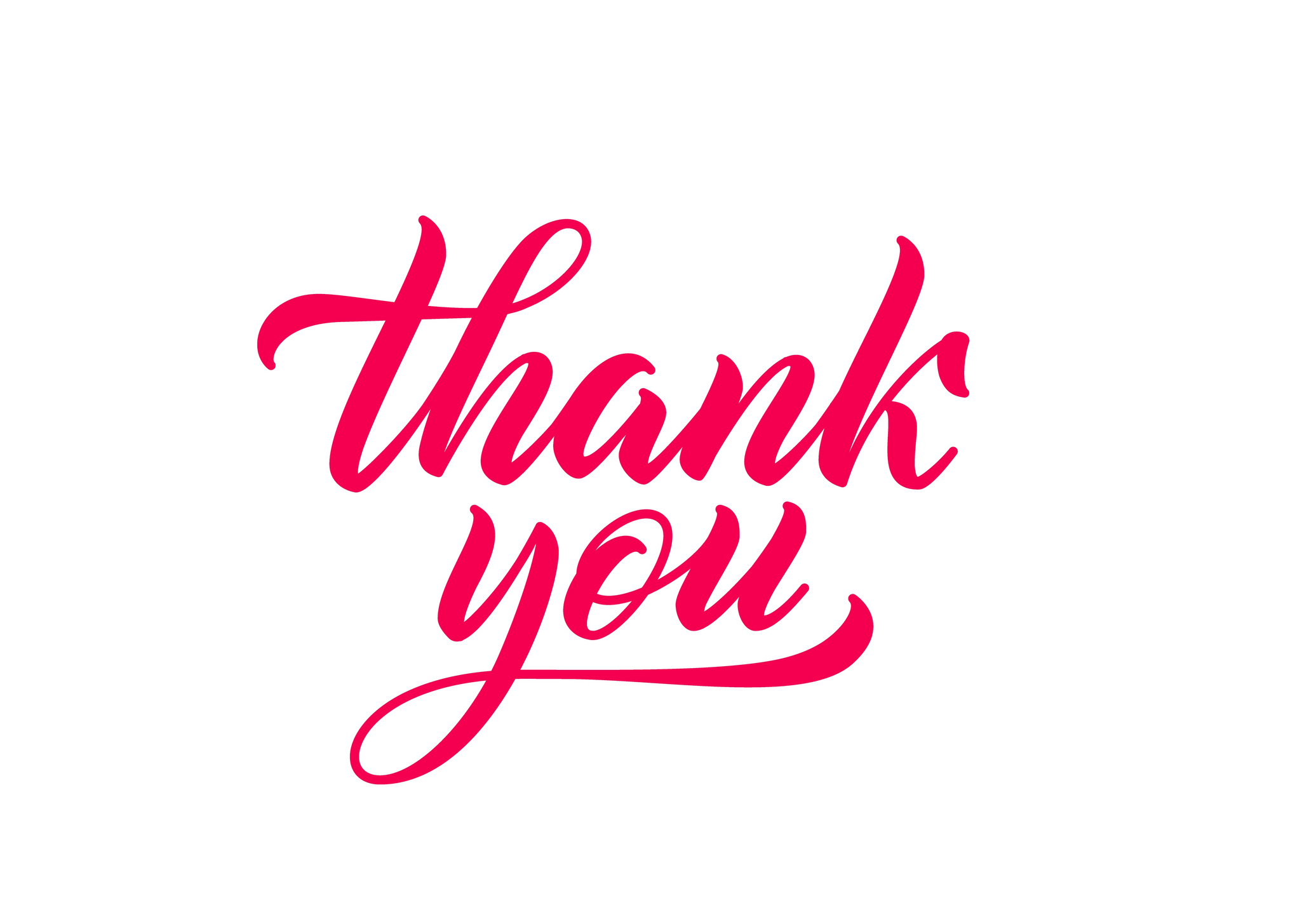 Thank you hand drawn lettering. Calligraphy inscription. Red handwriting text in lettering style.