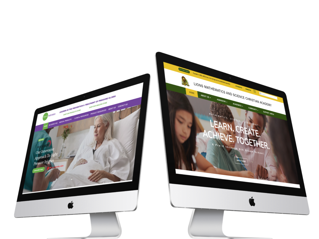 imacs-in-angled-position-over-a-transaparent-background-mockup-of walgreen health solutions and lions academy
